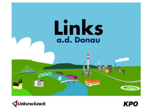 Postkarte und Aufkleber Links a.d. Donau