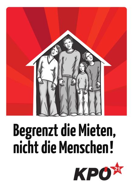 Plakat Begrenzt die Mieten, nicht die Menschen!